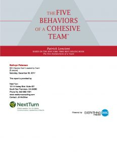 5 Behaviors of a Cohesive Team Sample