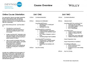 Everything DiSC Workplace Certification In-Person Course Agenda