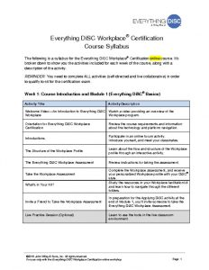 Online Everything DiSC Workplace Certification Agenda